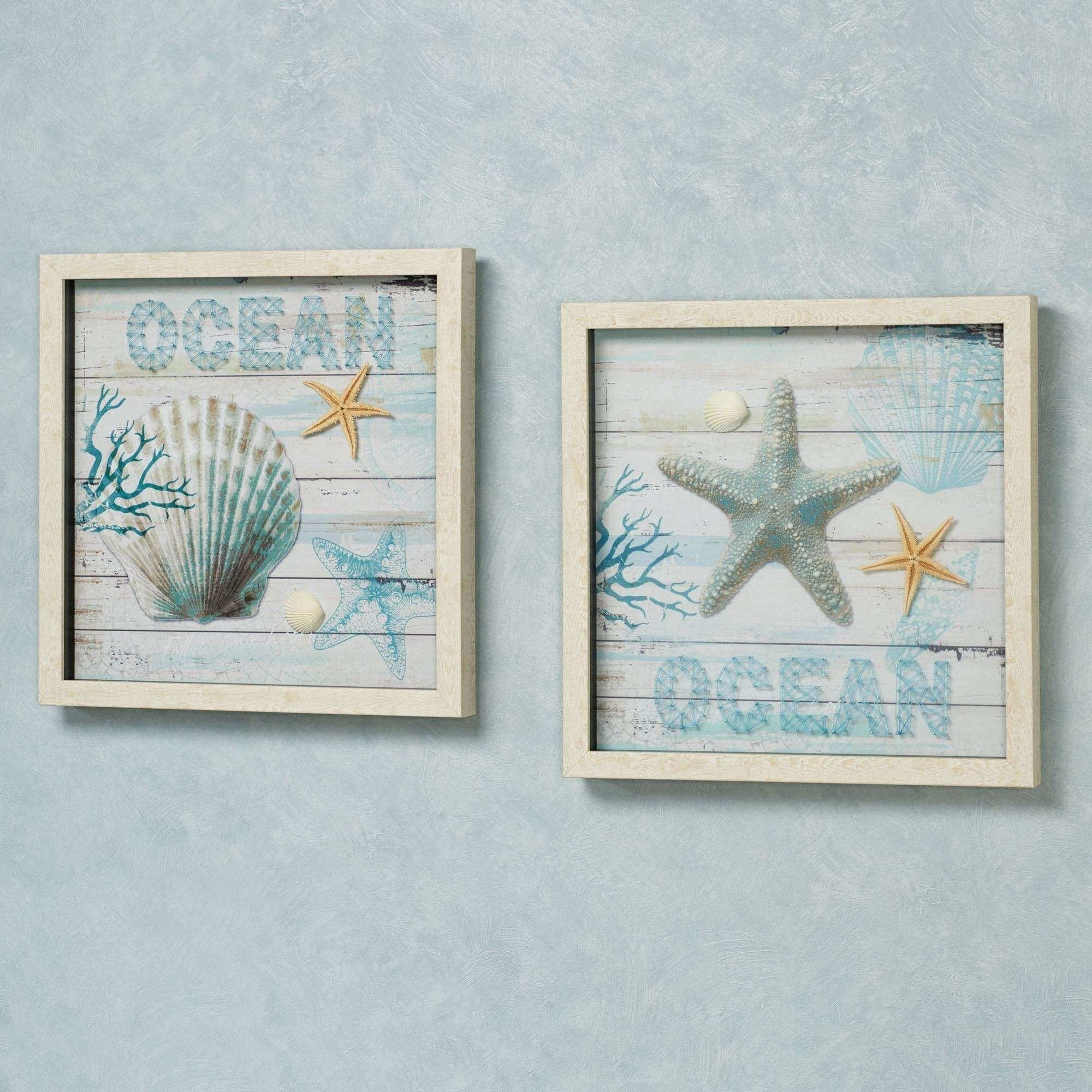 Framed Coastal Wall Art Beautiful Ocean Seashell Framed Wall Art Set intended for Coastal Wall Art (Image 9 of 20)