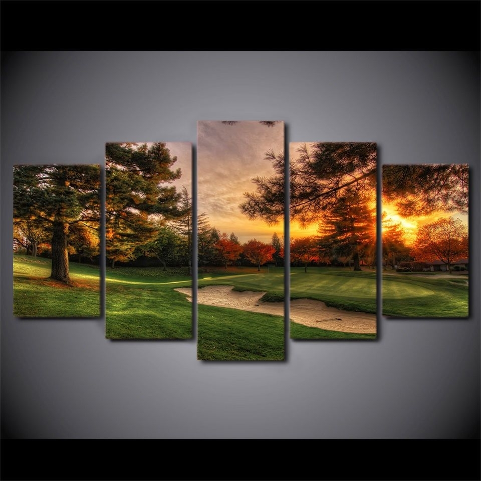 Framed Golf Course Sunset 5 Pcs Painting Printed Canvas Wall Art For Golf Canvas Wall Art (View 8 of 20)
