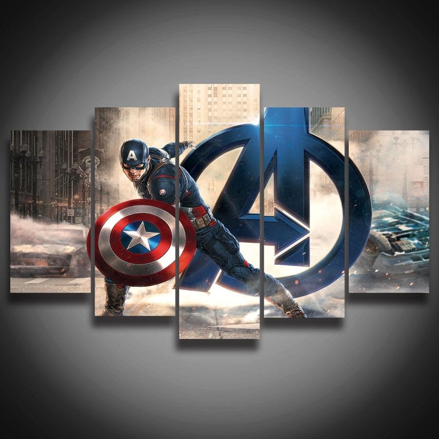 Framed Hd Printed Movie Super Hero Avenger Captain America Painting regarding Captain America Wall Art (Image 12 of 20)