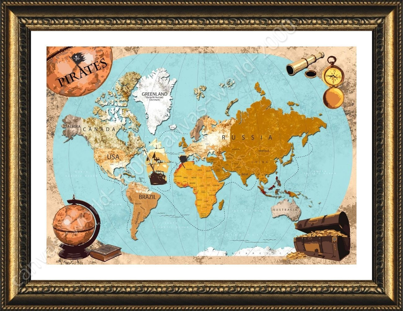 Framed Poster Pirates Old Vintage World Map Wall Art Pictures Framed intended for Old World Map Wall Art (Image 4 of 20)