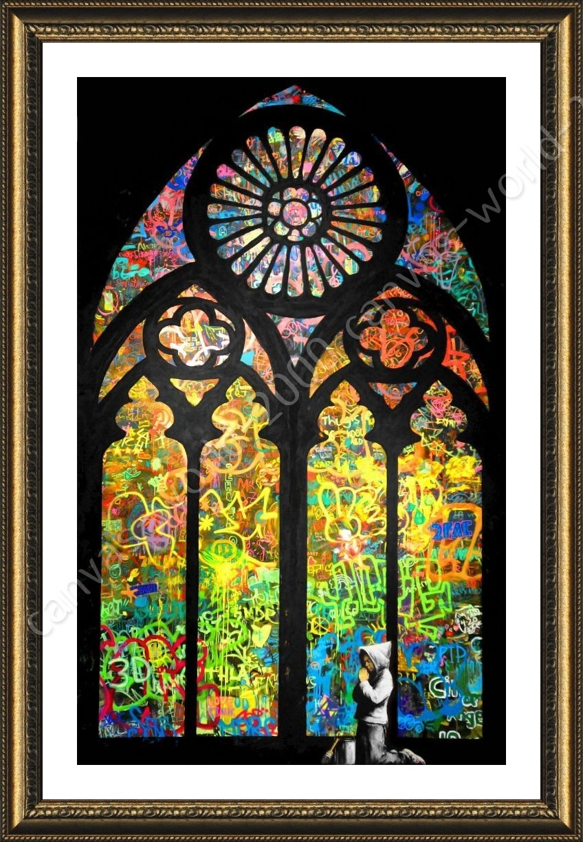 Framed Poster Stained Glass Window Church Cathedral Banksy Wall Art For Stained Glass Wall Art (View 12 of 20)