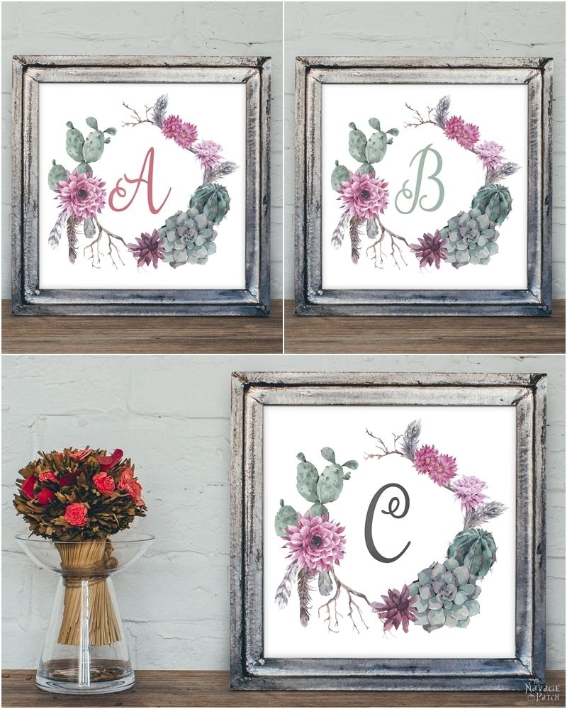 Free Printable Succulent Monogram Wall Art - The Navage Patch with regard to Monogram Wall Art (Image 5 of 20)