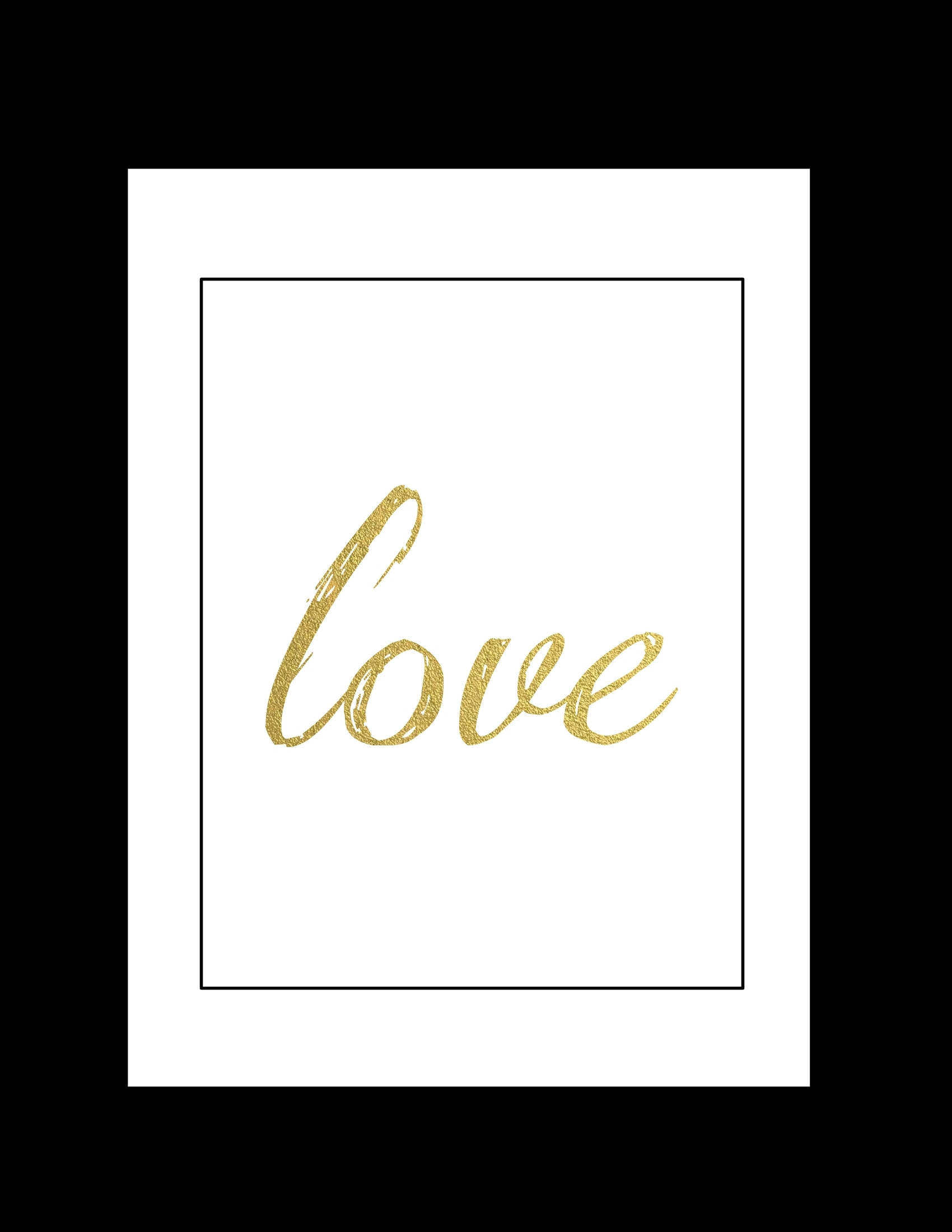 Free Printable Wall Art: Black And Gold Love – Paper Trail Design Inside Free Printable Wall Art Decors (View 6 of 20)