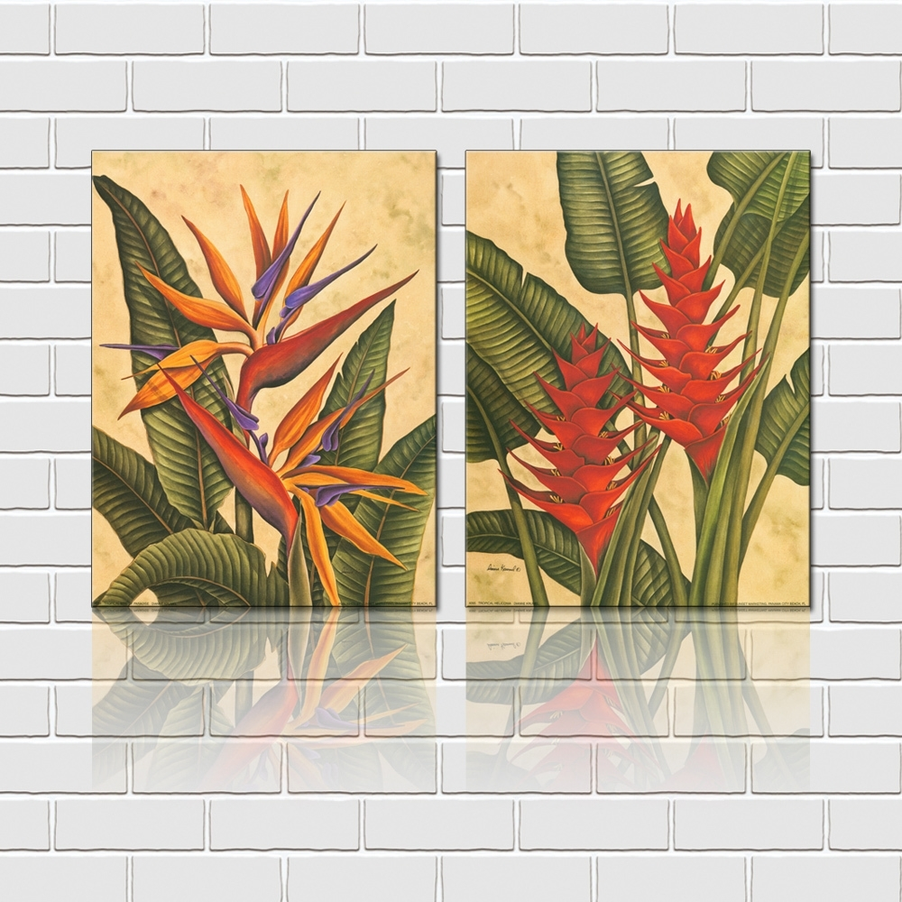 Free Shipping 2 Pieces Wall Art Set Tropical Flowers Canvas Prints With Tropical Wall Art (View 9 of 20)