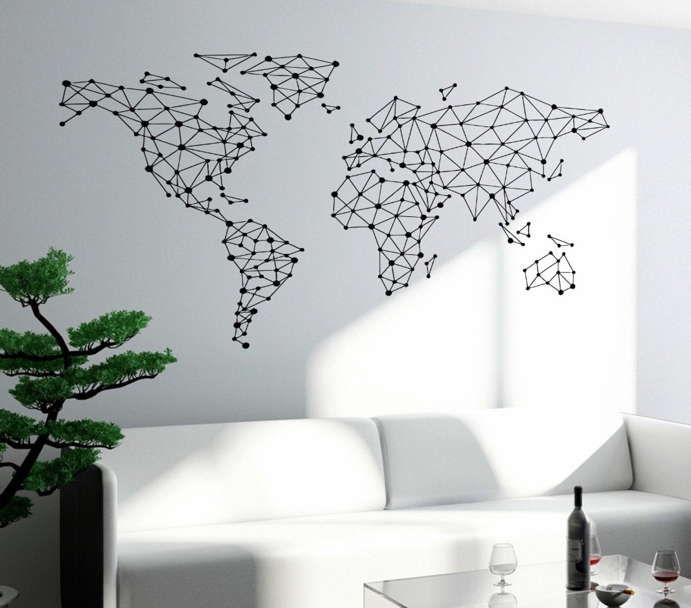 Free Shipping Art Wall Sticker Special World Map Geometric Design Pertaining To Wall Art Stickers World Map (View 12 of 20)