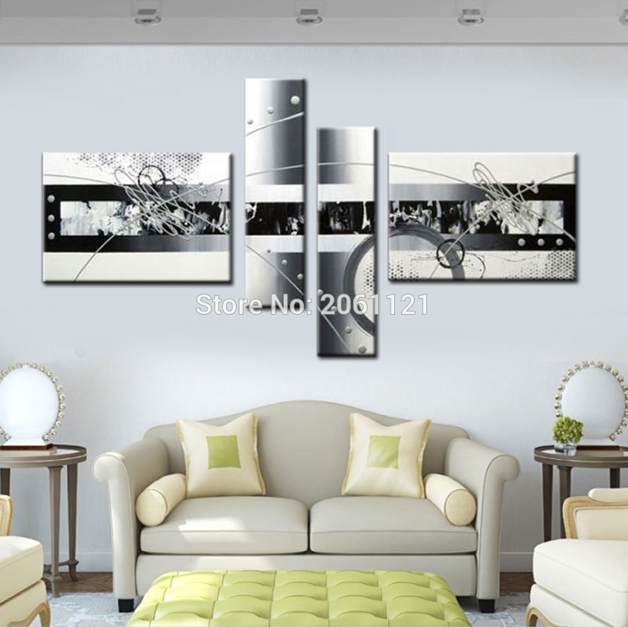Free Shipping Handpainted White Silver Gray Modern Abstract Oil Throughout 4 Piece Wall Art (View 9 of 20)