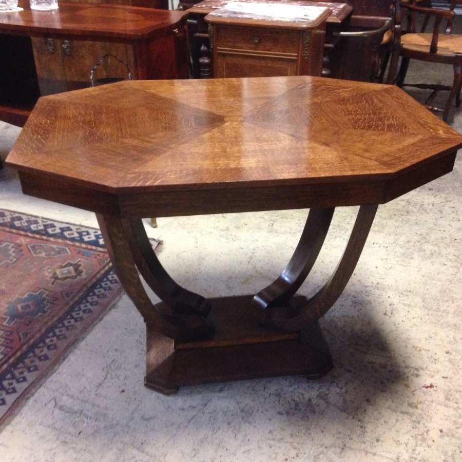 French Art Deco Oak Centre Table - French Antiques Melbourne inside Antiqued Art Deco Coffee Tables (Image 24 of 30)
