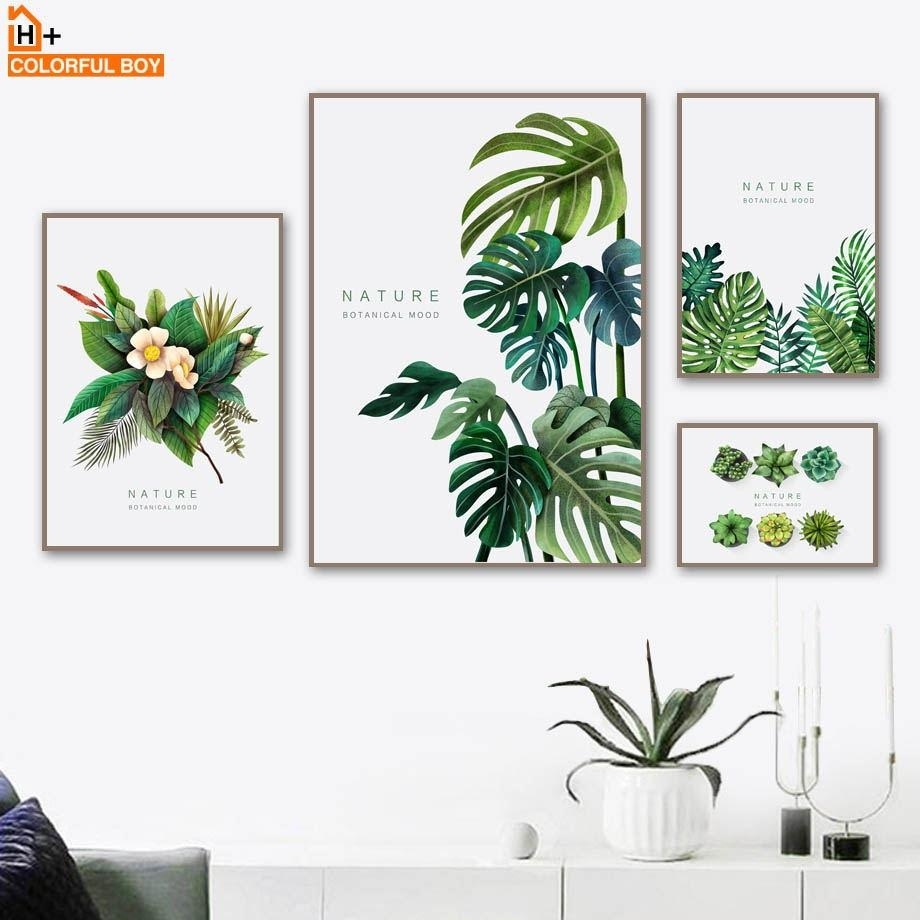 Fulboy Flower Leaf Succulent Wall Art Canvas Painting Nordic Plants in Succulent Wall Art (Image 6 of 20)