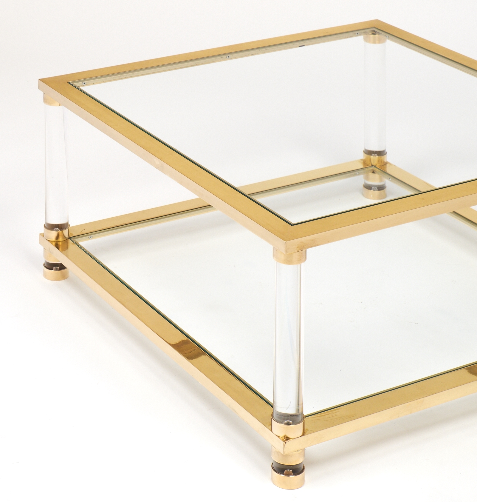 Furniture: Acrylic Coffee Table Square And Lucite Table For Living inside Acrylic Glass And Brass Coffee Tables (Image 21 of 30)