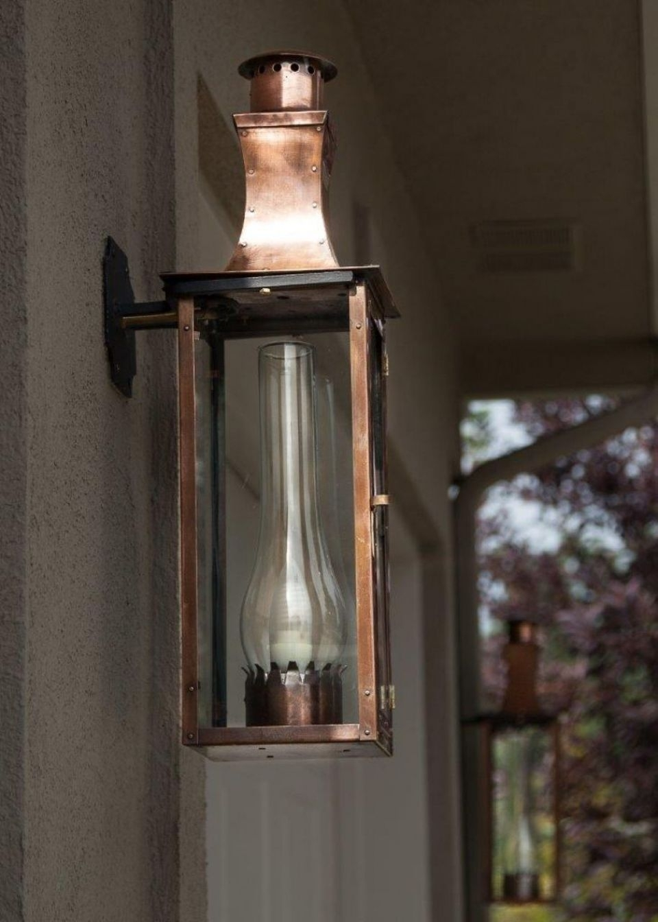 Furniture: Cozy Williamsburg Low Profile Column Mountbevolo For for Copper Outdoor Electric Lanterns (Image 8 of 20)
