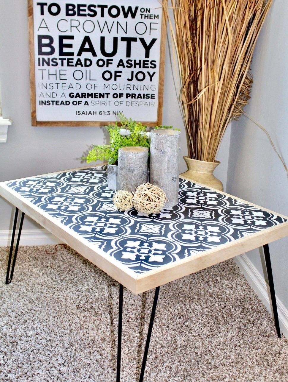 Furniture : Diy Hairpin Coffee Table With Stenciled Tile Handmade with regard to Haven Coffee Tables (Image 11 of 30)
