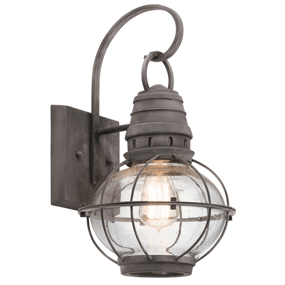Furniture Kichler Bridge Point Nautical Weathered Zinc Outdoor for Outdoor Mexican Lanterns (Image 5 of 20)