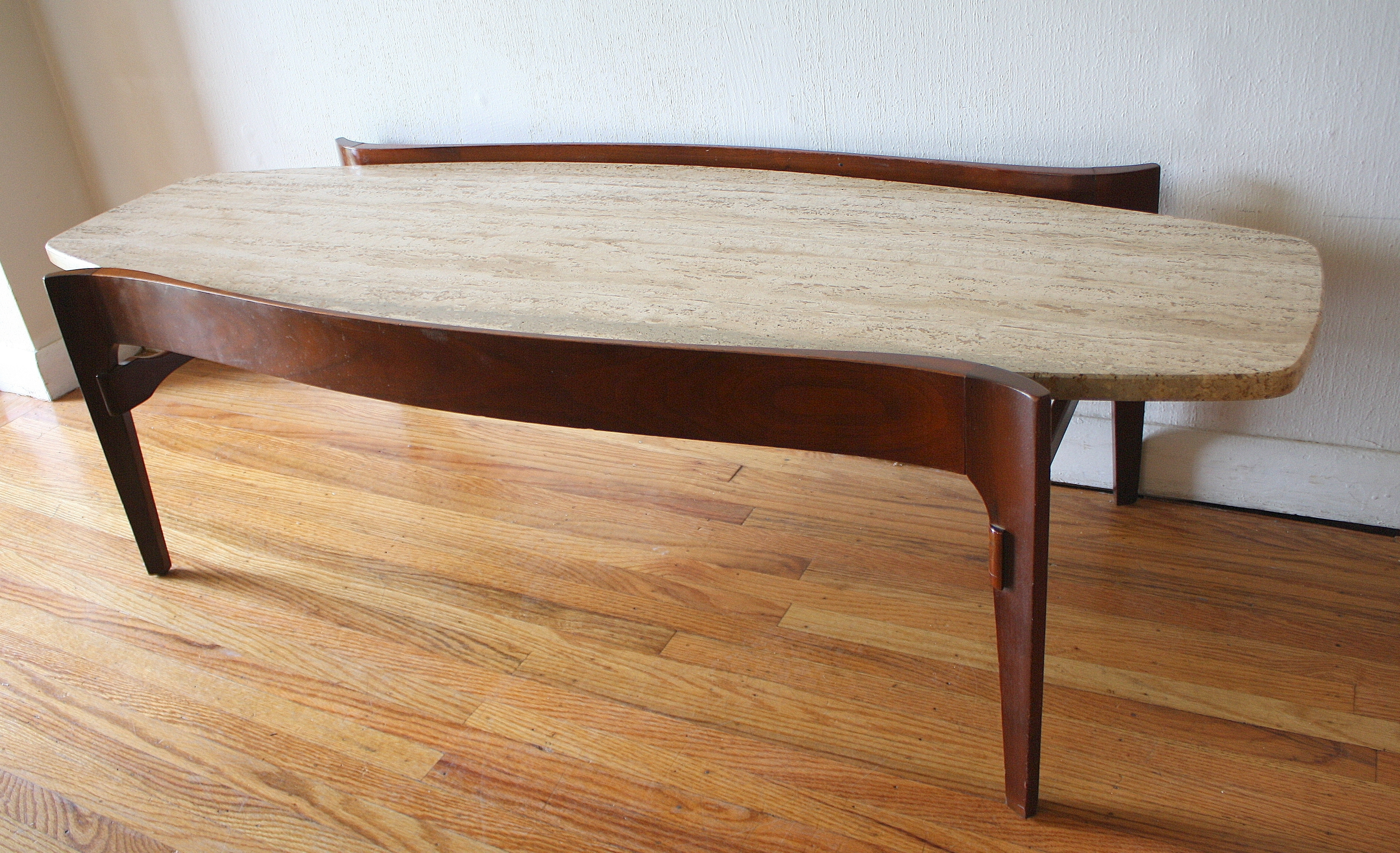 Furniture: Mid Century Modern Surfboard Coffee Table With Floating intended for Mid-Century Modern Marble Coffee Tables (Image 9 of 30)
