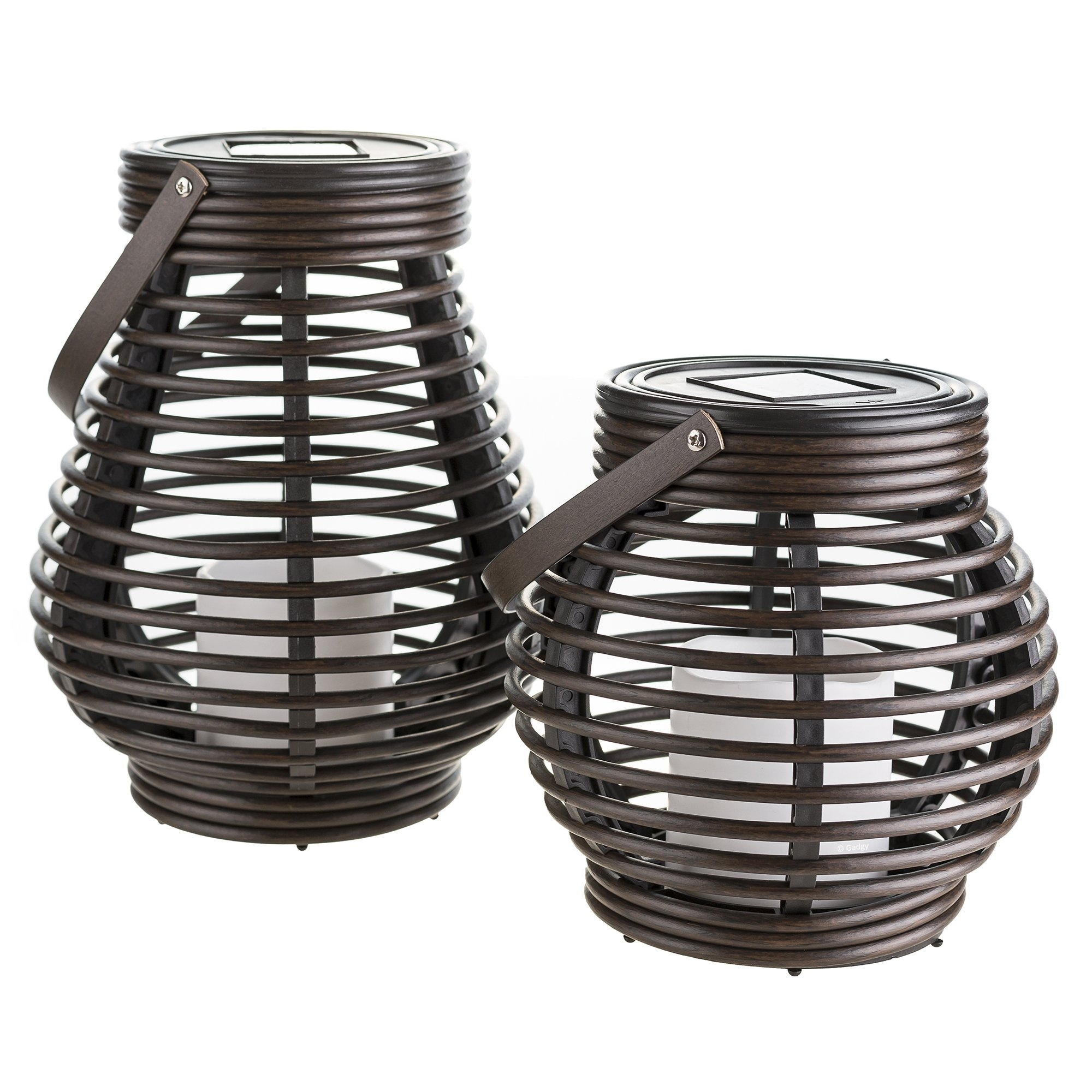 Gadgy ® Solar Lantern Set Rattan Look | Brown Marbled Plastic | 2 For Outdoor Rattan Lanterns (View 5 of 20)