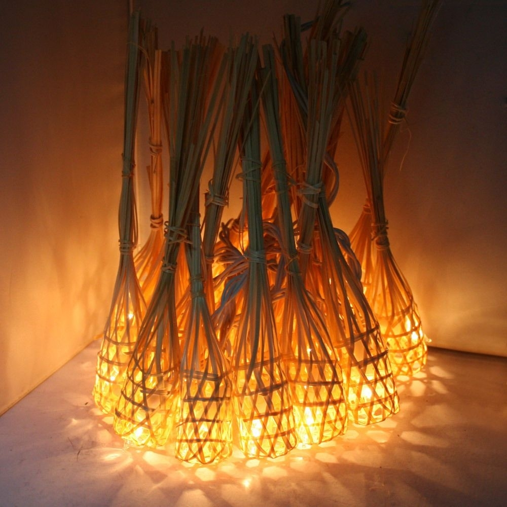 Gaiashine Handmade Bamboo Baskets String Fairy Outdoor Lanterns Throughout Outdoor Bamboo Lanterns (View 9 of 20)