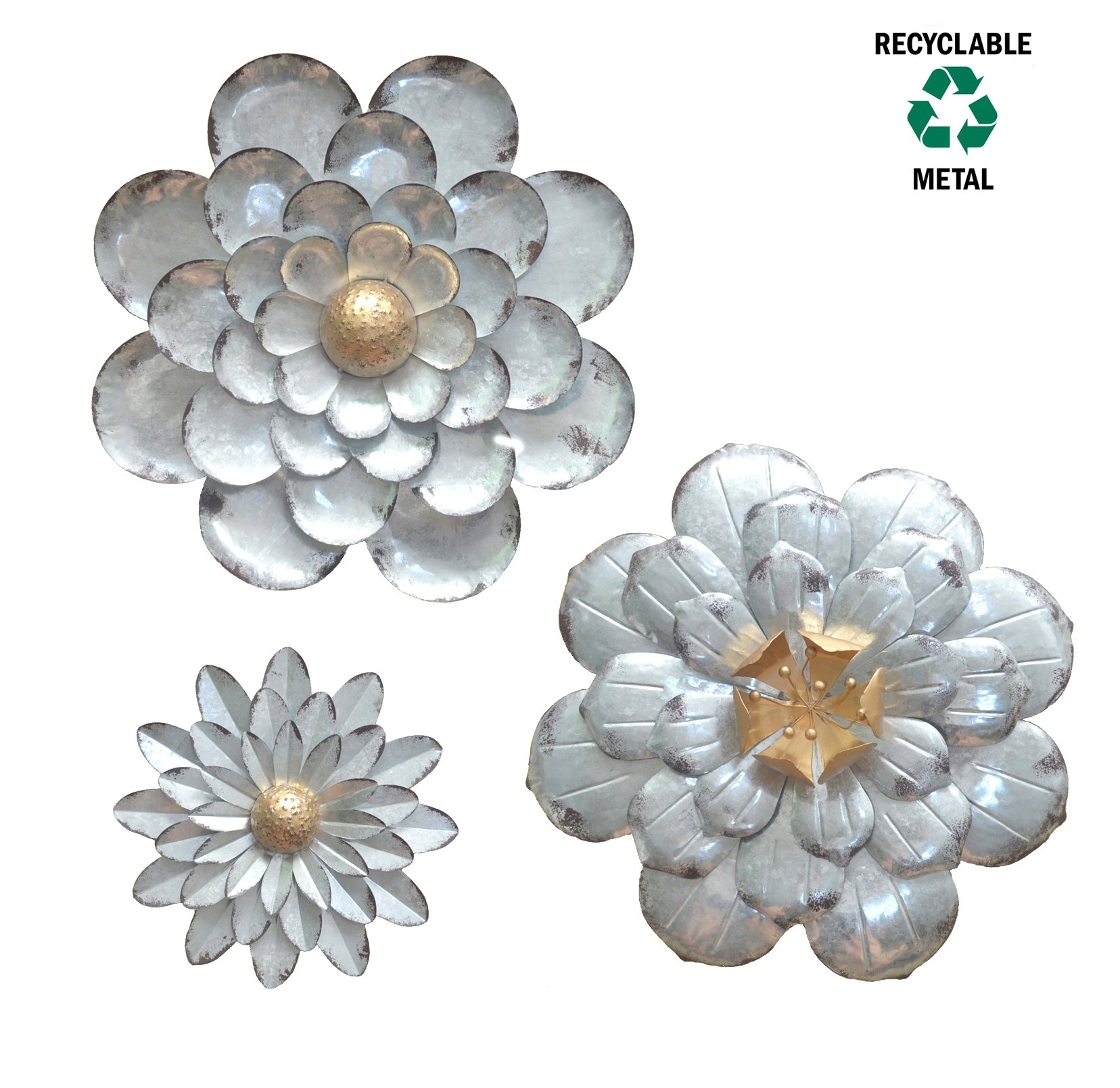 Galvanized Flowers Wall Décor Set Of 3 Metal Flower Wall Art-By throughout Metal Flowers Wall Art (Image 7 of 20)