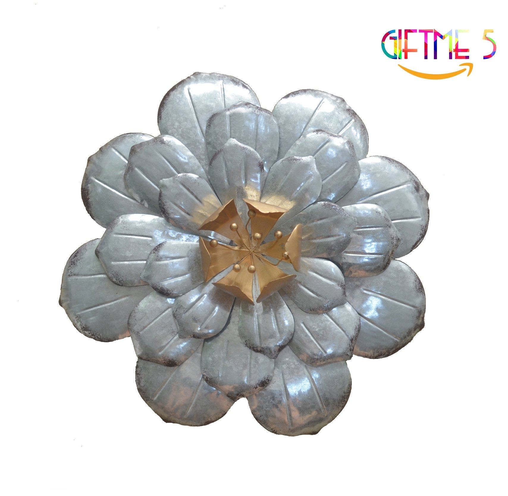 Galvanized Flowers Wall Décor Set Of 3 Metal Flower Wall Art By Within Metal Flower Wall Art (View 9 of 20)