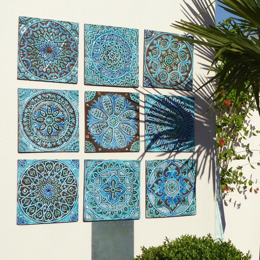 Garden Decor - Outdoor Wall Art Made From Ceramic - Set Of 9 pertaining to Outside Wall Art (Image 3 of 20)