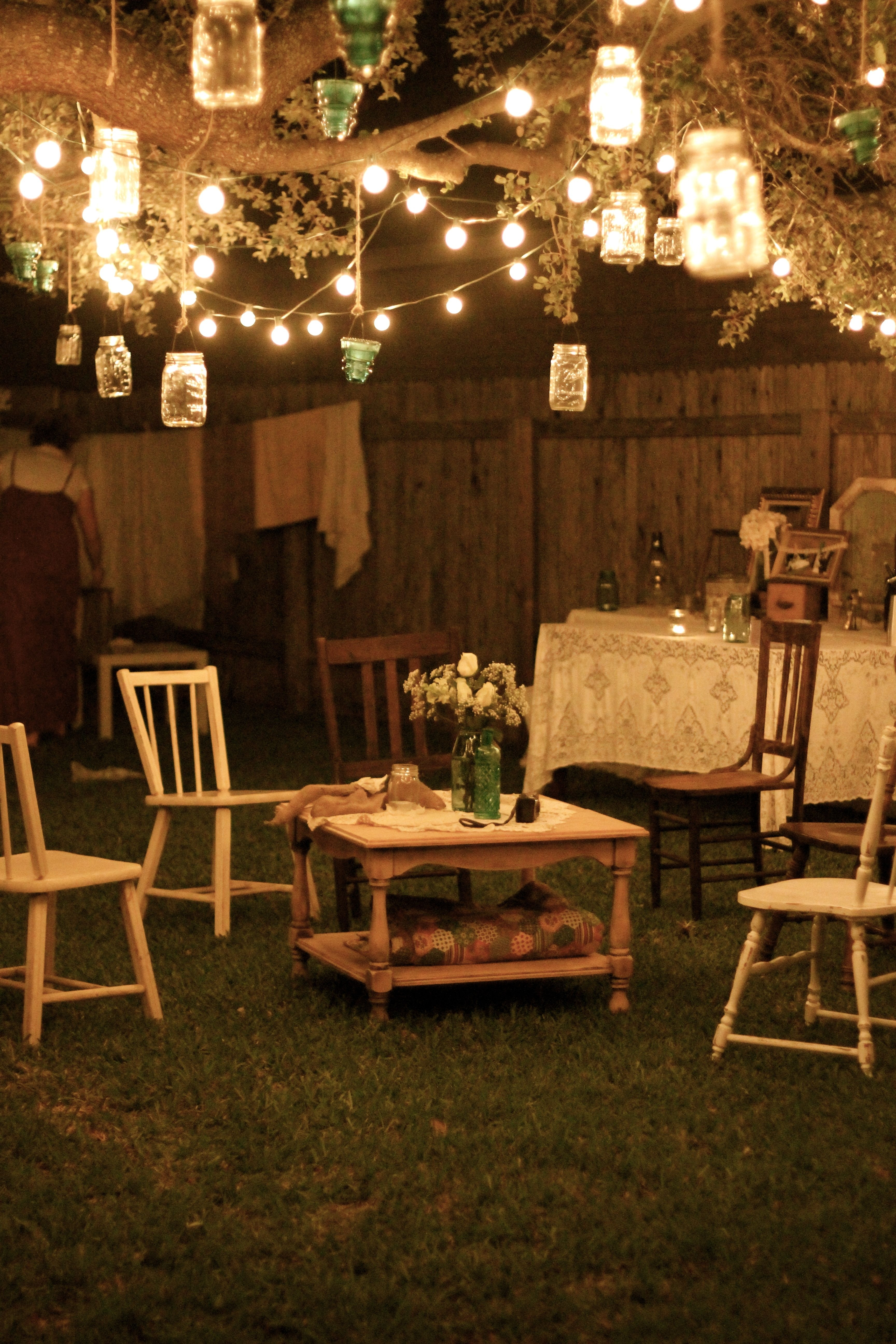 Garden Party At Night; Lanterns Hang From Tree Branches, And Rustic for Outdoor Lanterns For Parties (Image 6 of 20)