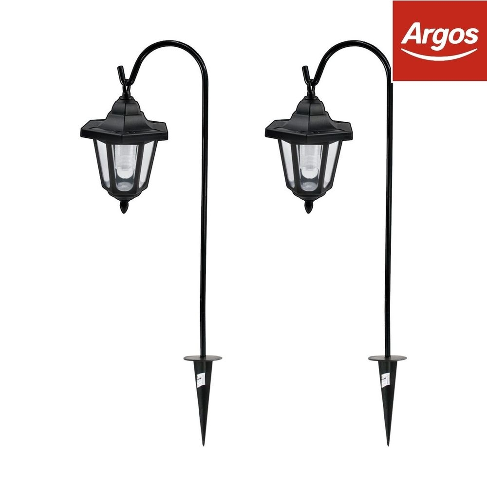 Gardenkraft Steel Hooked Solar Shepard Lights - Set Of 2. From Argos pertaining to Outdoor Lanterns at Argos (Image 13 of 20)