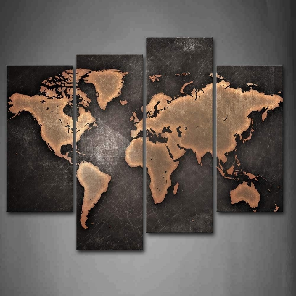 General World Map Black Background Wall Art Painting Pictures Print in Map Wall Art Prints (Image 5 of 20)