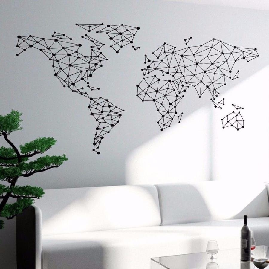 Geometric World Wall Sticker Other Wall Sticker Art Wall Sticker regarding Map of the World Wall Art (Image 5 of 20)