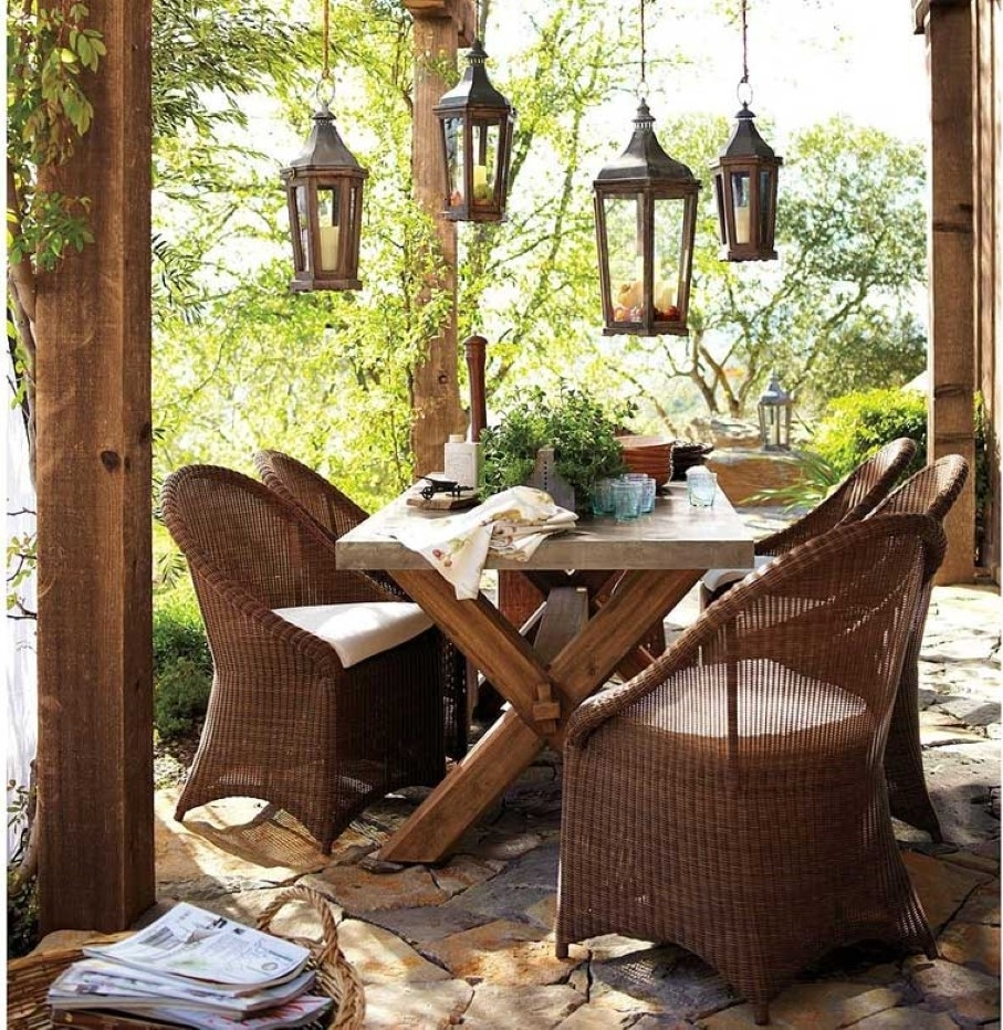 Getting Charming Outdoor Decorationinspiring Rustic Furniture With Outdoor Dining Lanterns (View 5 of 20)