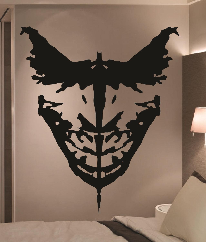 Giant Batman Joker Ink Blot Comic Vinyl Wall Art By, Comic Wall Art with Joker Wall Art (Image 12 of 20)