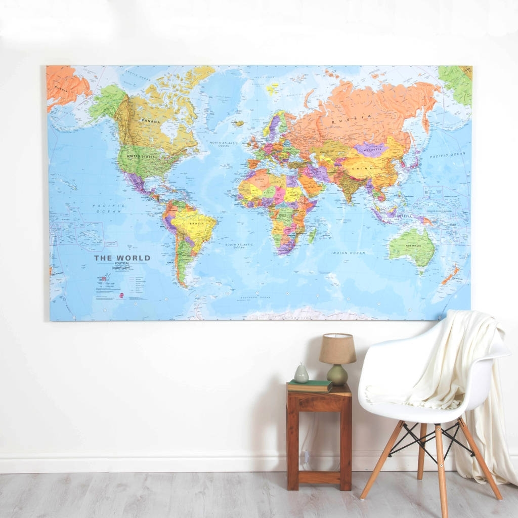 Giant Canvas World Mapmaps International | Notonthehighstreet Within World Map Wall Art Canvas (View 2 of 20)