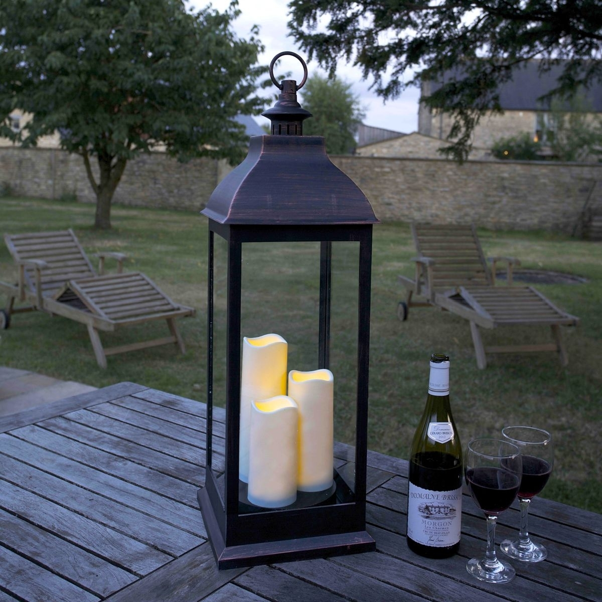 Giant Copper Look Led Lantern | Notcutts | Notcutts inside Outdoor Lanterns With Flameless Candles (Image 9 of 20)