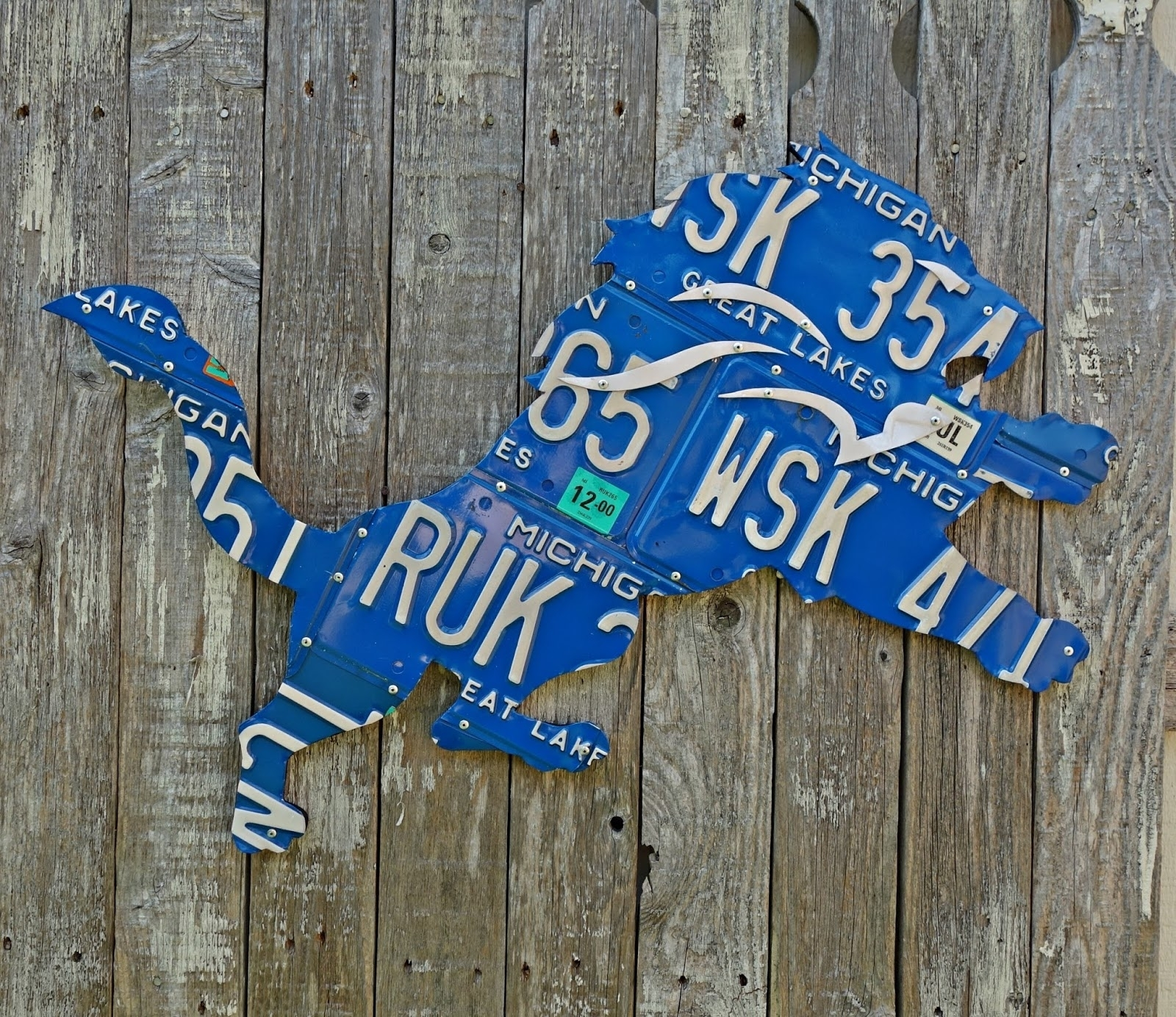 Giant Detroit Lions Great Lakes Michigan License Plate Logo Wall Art with Michigan Wall Art (Image 3 of 20)