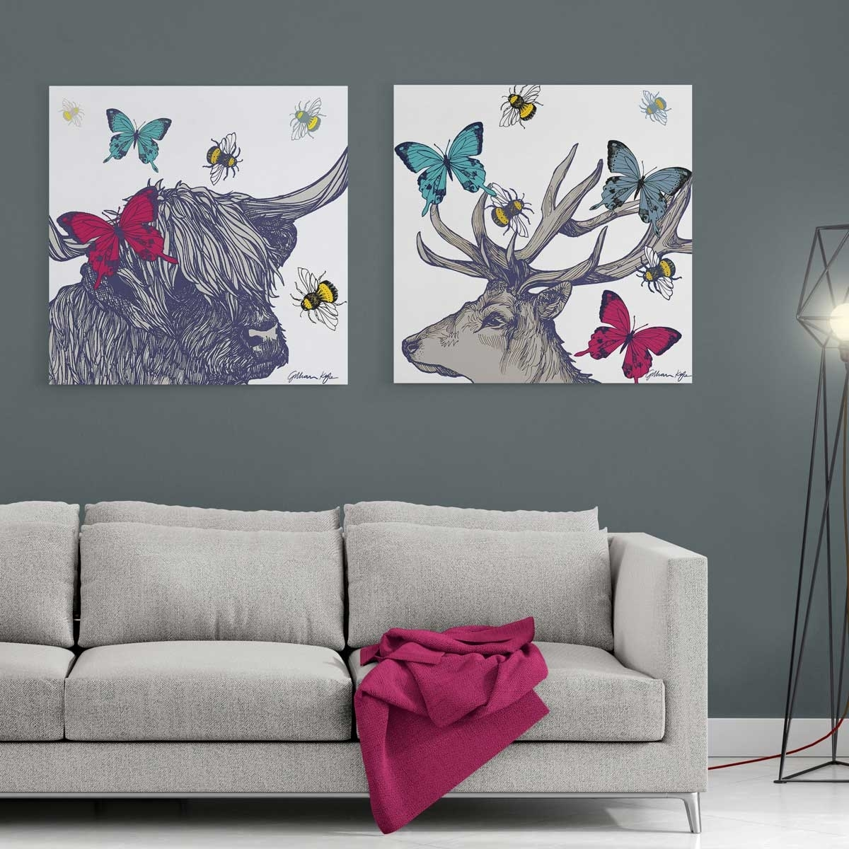 Gillian Kyle Scottish Wall Art Stag And Lola Set Of Two Canvas Prints With Wall Art Prints (View 15 of 20)