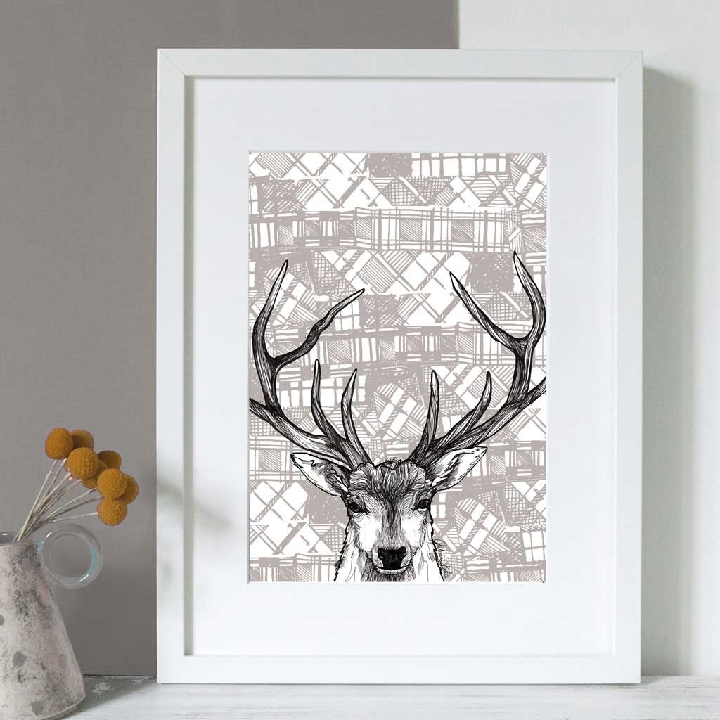 Gillian Kyle Scottish Wall Art Tartan Stag Canvas Print With Regard To Wall Art Prints (View 2 of 20)