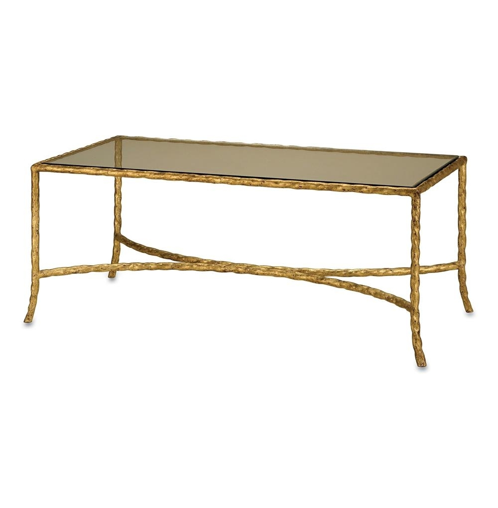 Gilt Twist French Deco Antique Gold Leaf Glass Coffee Table within Gold Leaf Collection Coffee Tables (Image 10 of 30)