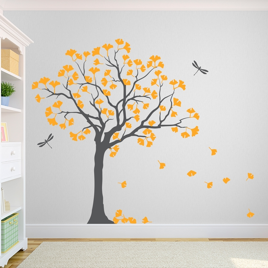 Gingko Tree Wall Decal Lovely Tree Wall Art - Home Design And Wall in Tree Wall Art (Image 5 of 20)