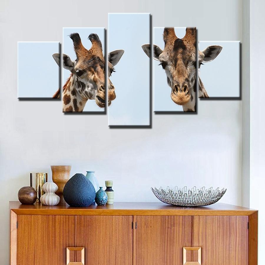 Giraffe Canvas Wall Art Decor Giclee Prints 5 Panels Painting Modern throughout Giraffe Canvas Wall Art (Image 6 of 20)
