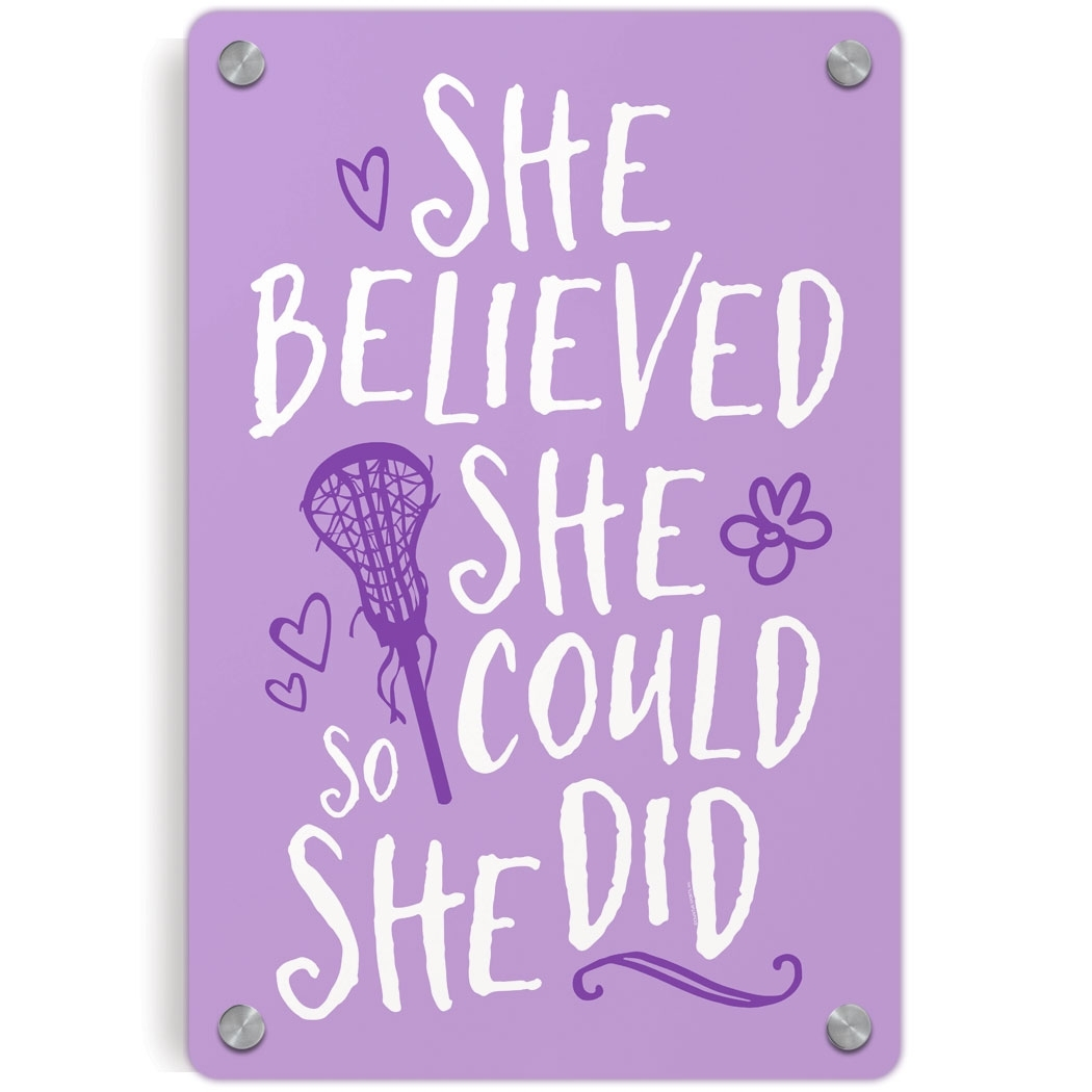Girls Lacrosse Metal Wall Art Panel - She Believed She Could So She throughout She Believed She Could So She Did Wall Art (Image 6 of 20)