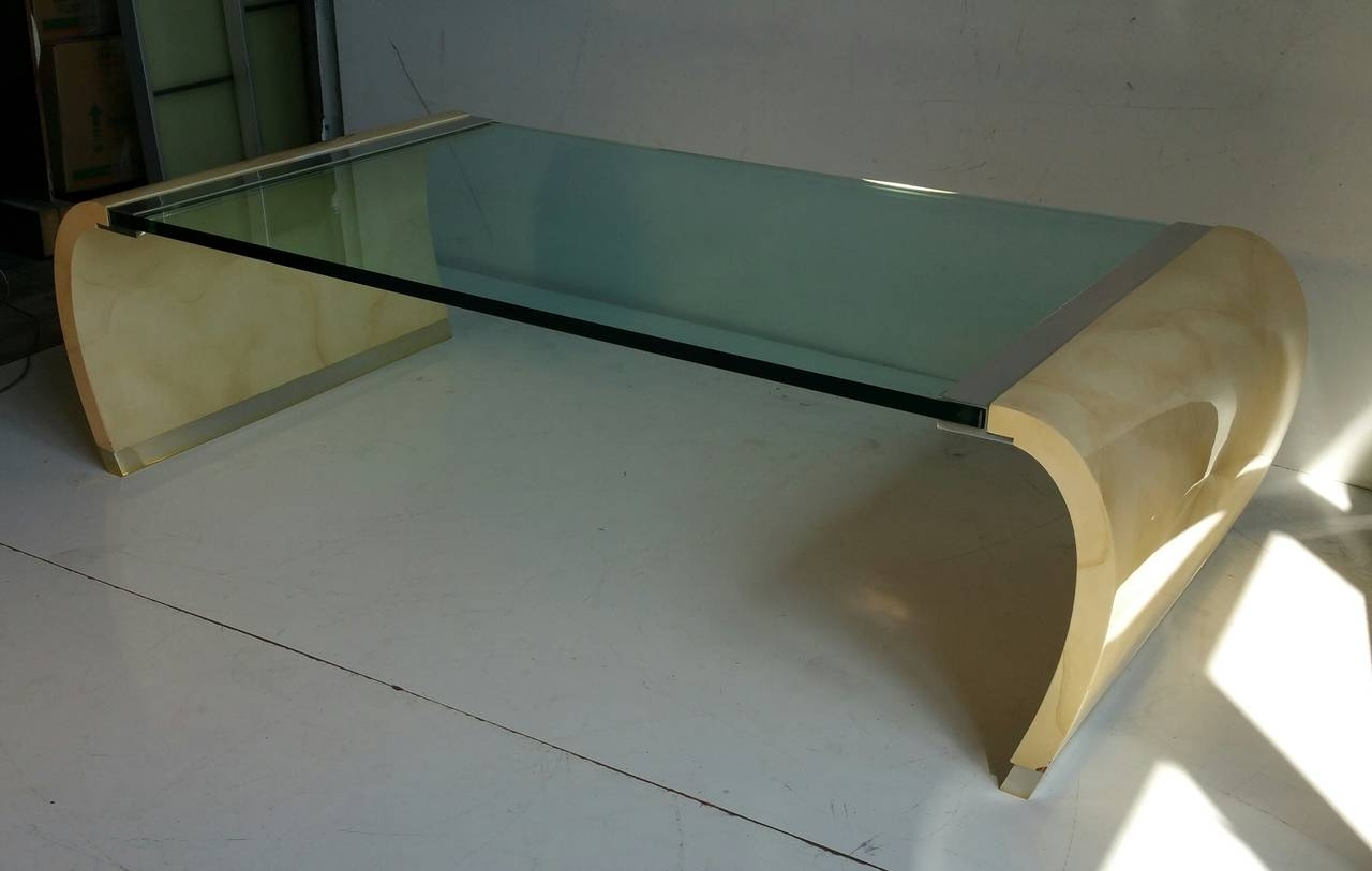 Glass And Lacquer Waterfall Coffee Table In The Manner Of Karl regarding Waterfall Coffee Tables (Image 12 of 30)