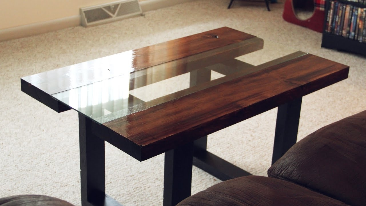 Glass & Wood Coffee Table With Faux Metal Legs - Youtube for Chiseled Edge Coffee Tables (Image 8 of 30)