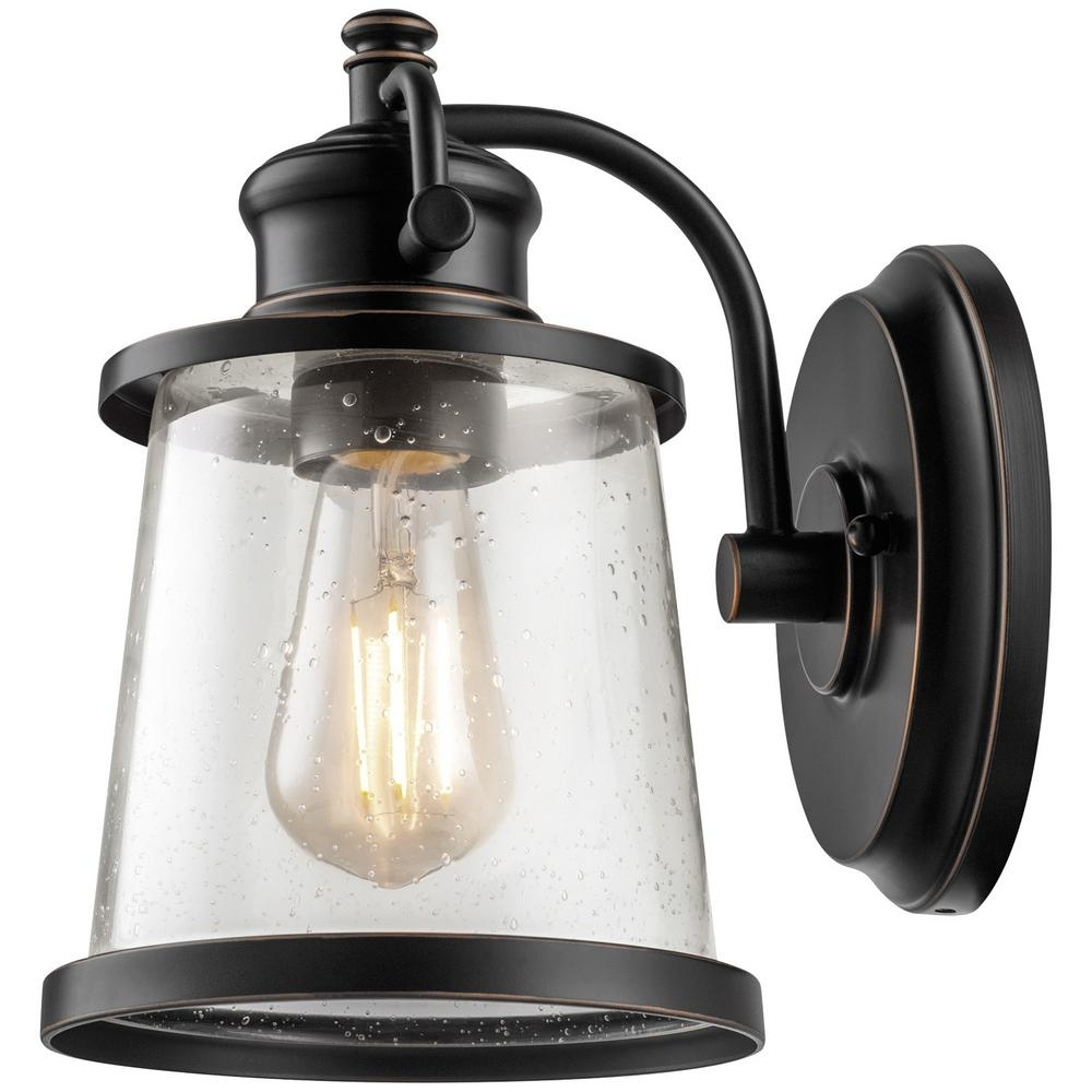 Globe Electric Charlie Collection Light Oil Rubbed Bronze Led throughout Outdoor Lanterns and Sconces (Image 8 of 20)