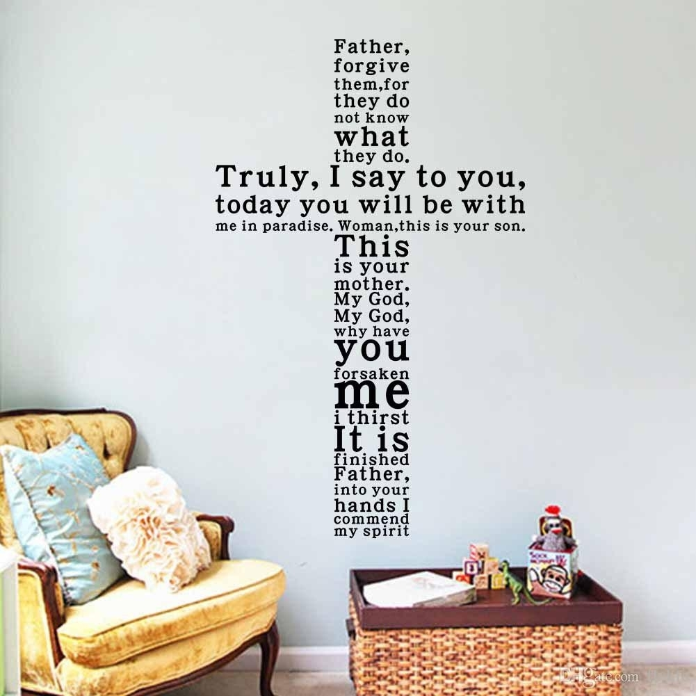 God Vinyl Quote Wall Decal Sticker Christian Religious Cross Wall with Wall Art Quotes (Image 9 of 20)