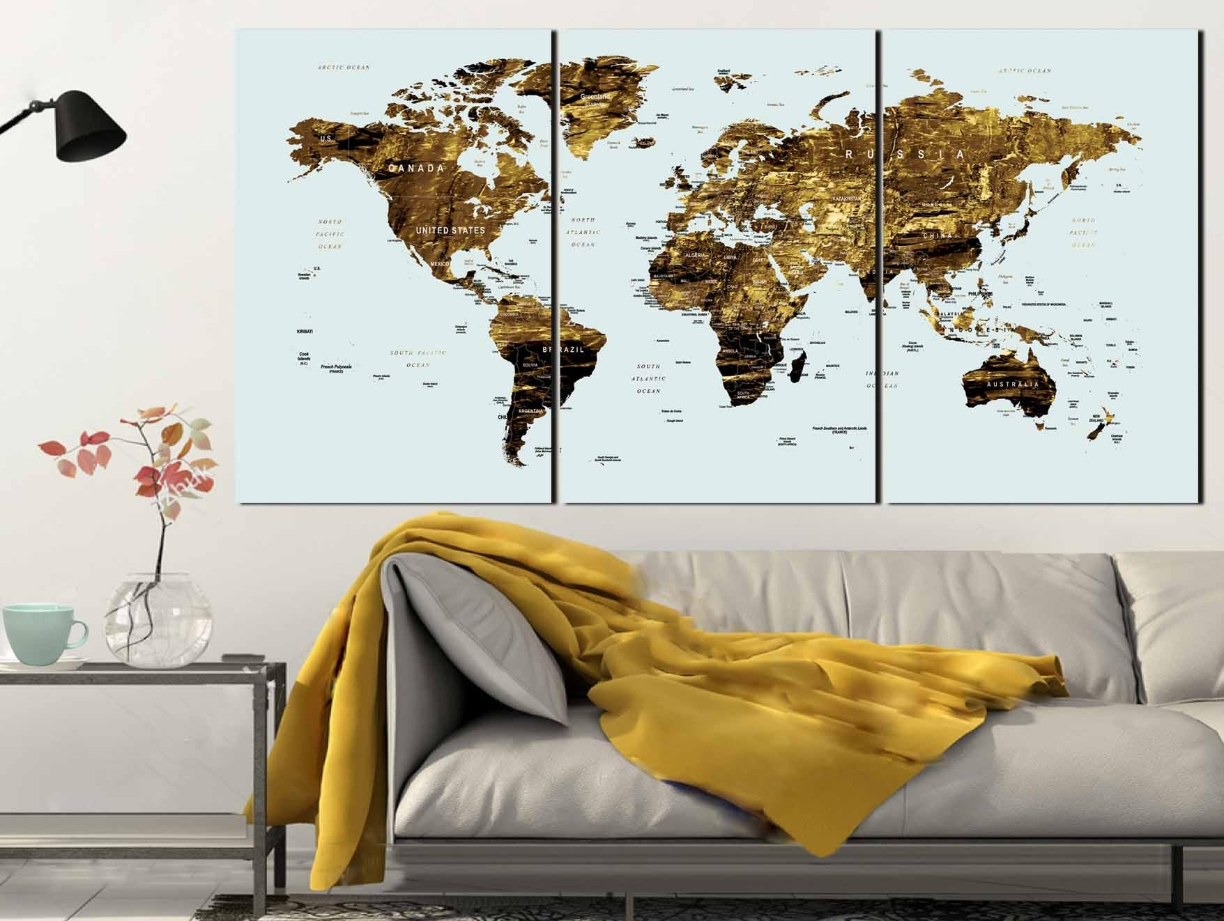 Gold Color Map Art,world Map Canvas Art,world Map Wall Art,large regarding Maps Wall Art (Image 8 of 20)