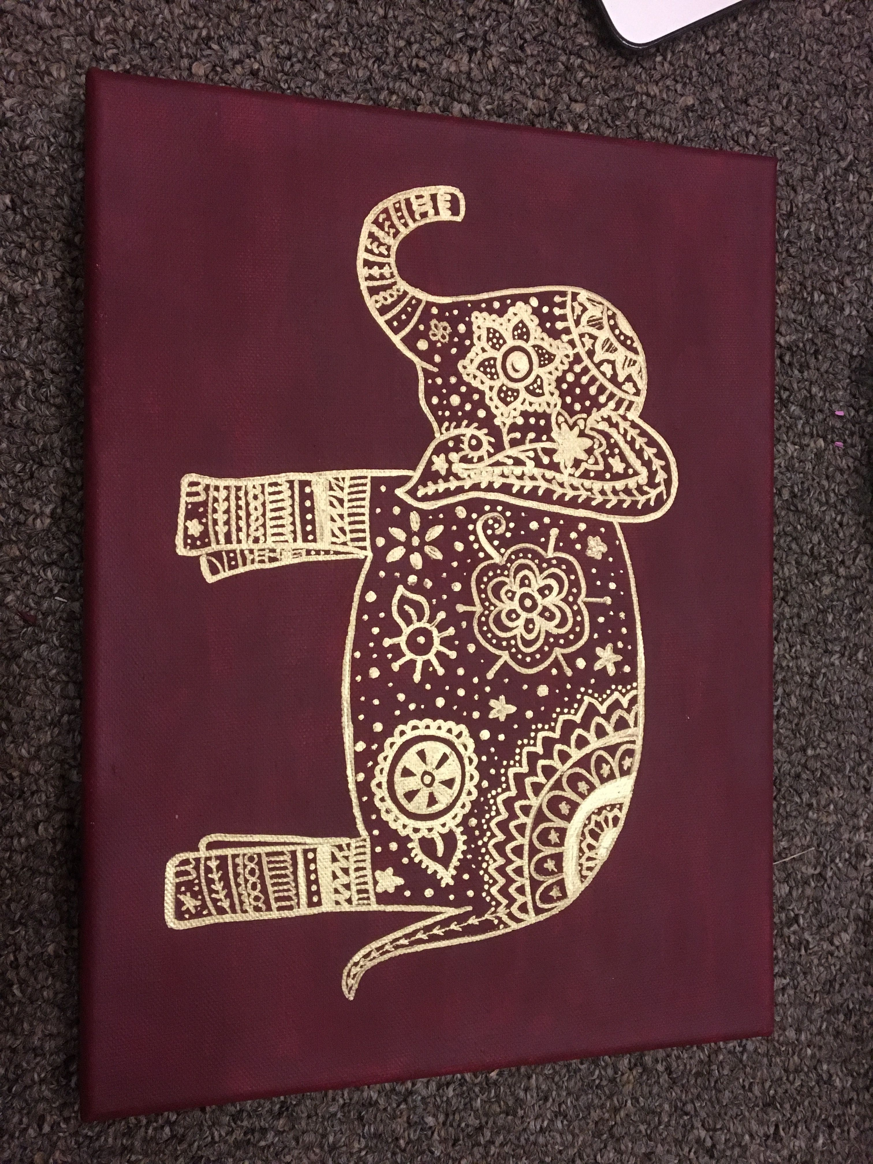Gold Elephant With Paint Pens On Maroon/burgundy Canvas | My Inside Burgundy Wall Art (View 5 of 20)