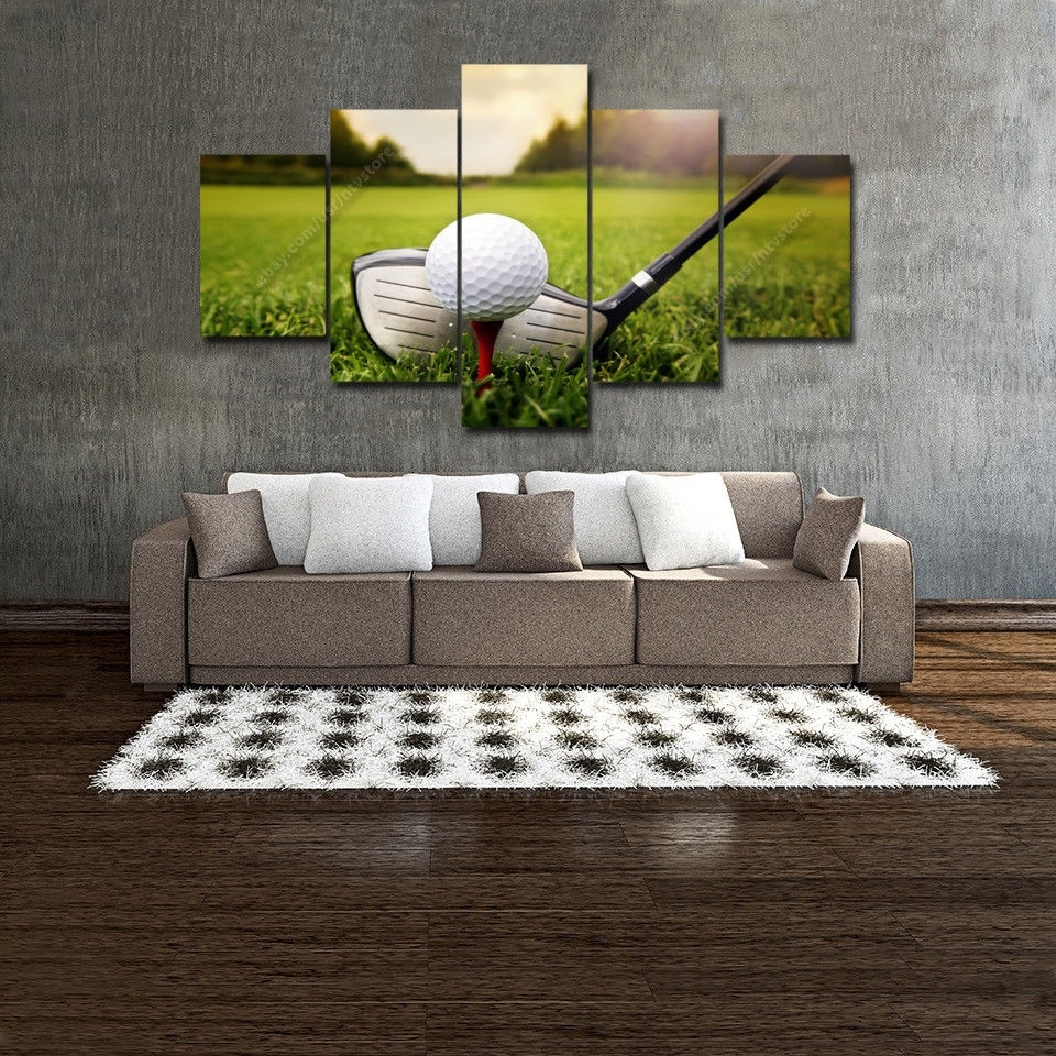 Golf Wall Art Decor 5 Panel Canvas Home Living Room Club Ball Intended For Golf Canvas Wall Art (View 15 of 20)