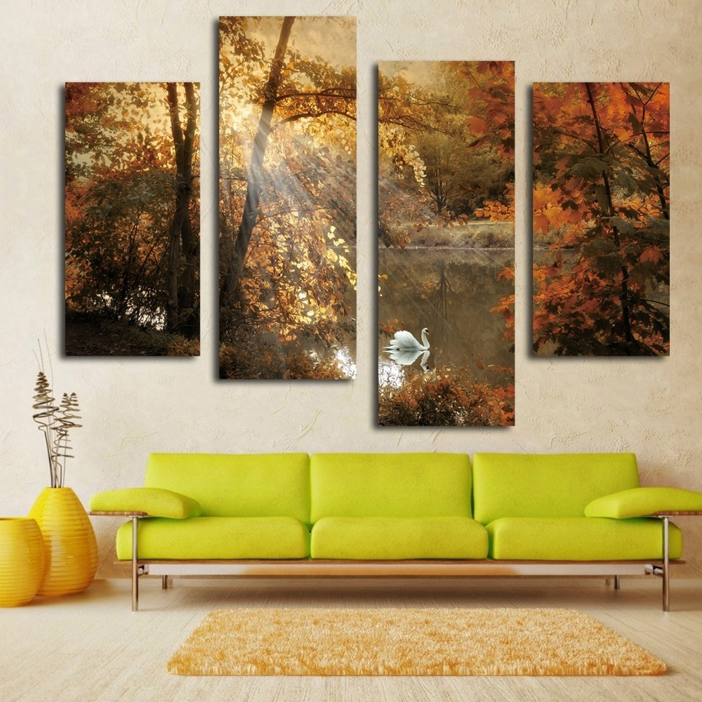 Graceful Abstract Canvas Art Decor Artist Handmade Abstract Oil with regard to Multi Panel Wall Art (Image 10 of 20)