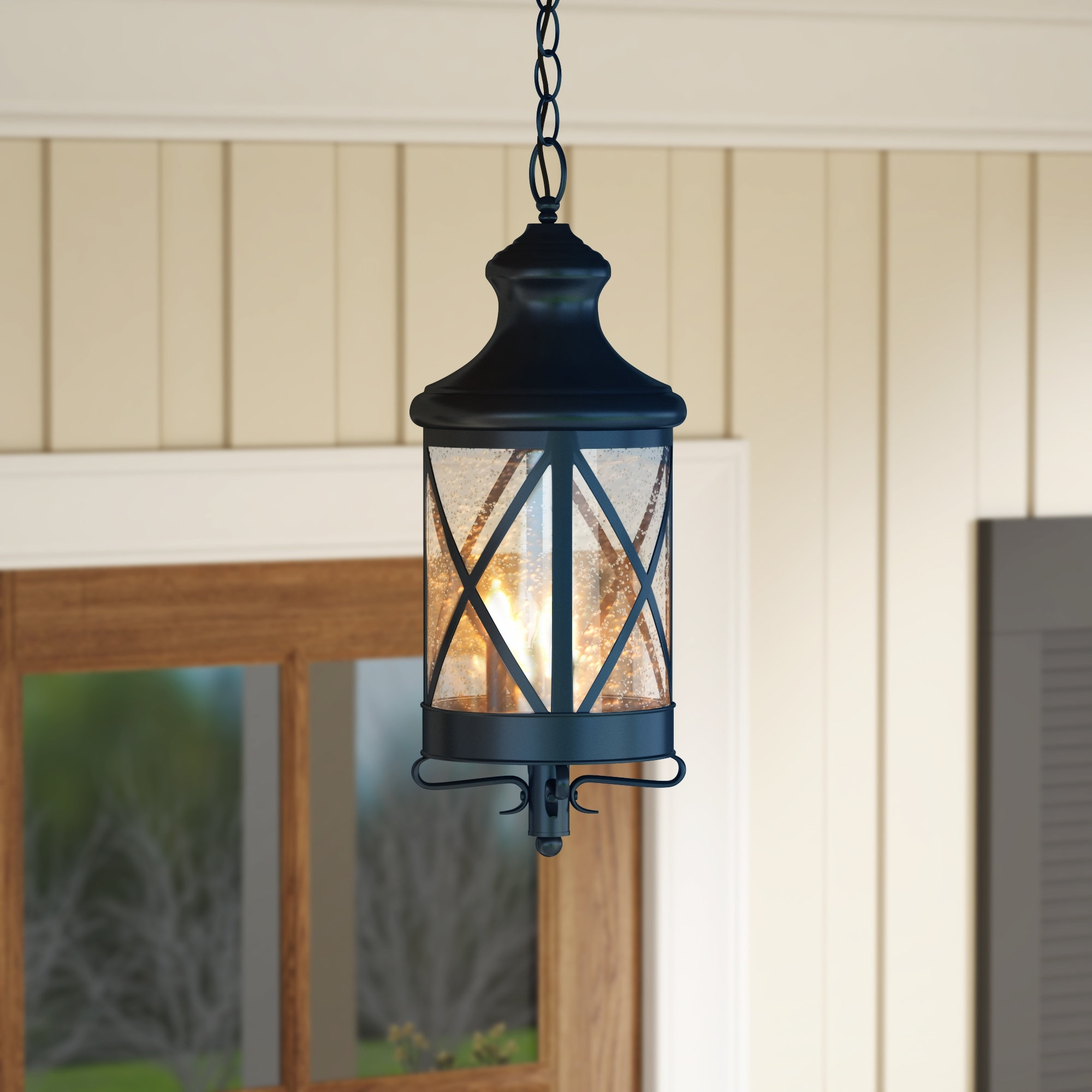 Gracie Oaks Luqi 3-Light Outdoor Hanging Lantern & Reviews | Wayfair with Outdoor Hanging Electric Lanterns (Image 9 of 20)