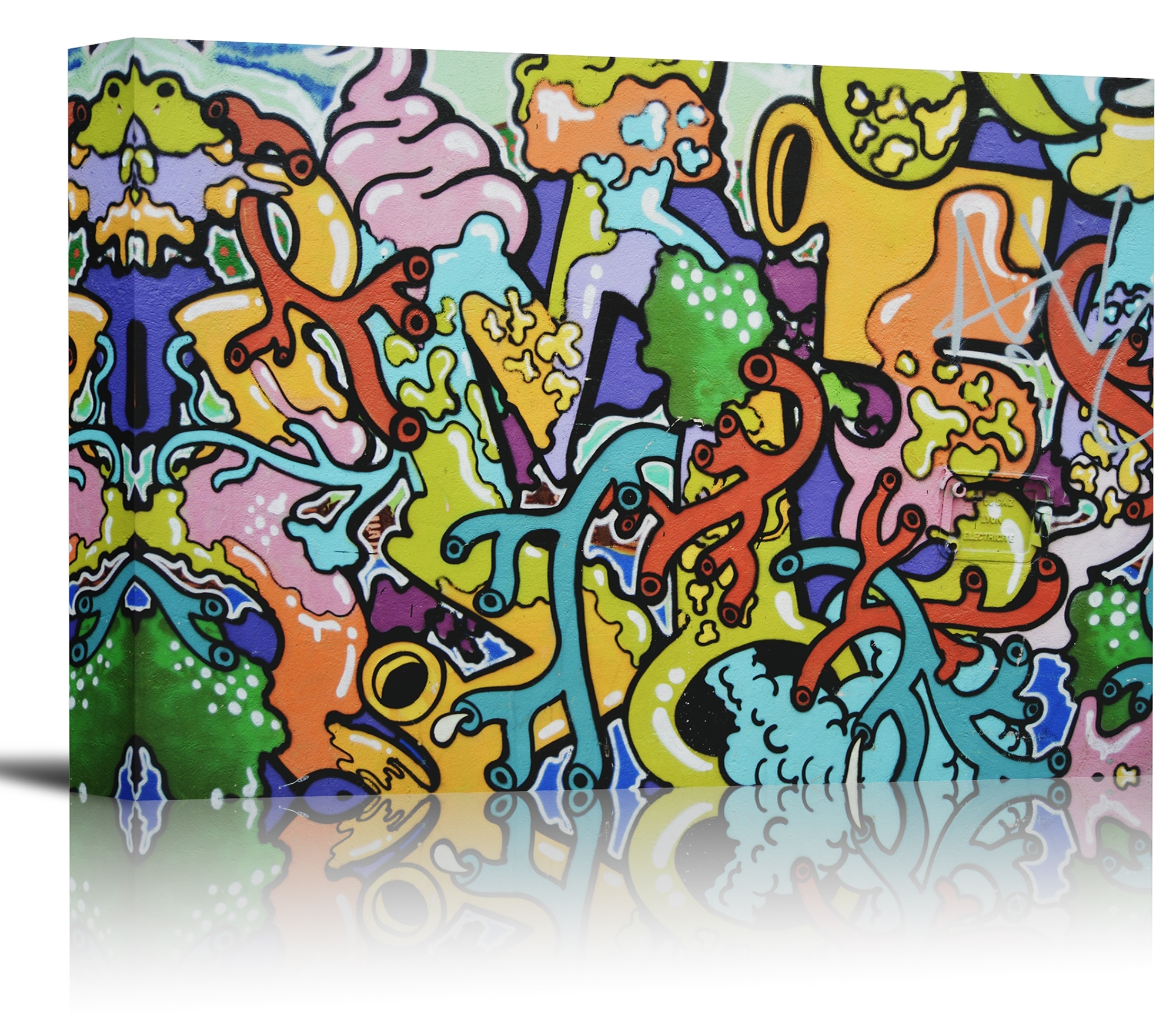 Graffiti Colorful Wall Art Print Decor Image – Canvas Stretched For Colorful Wall Art (View 12 of 20)