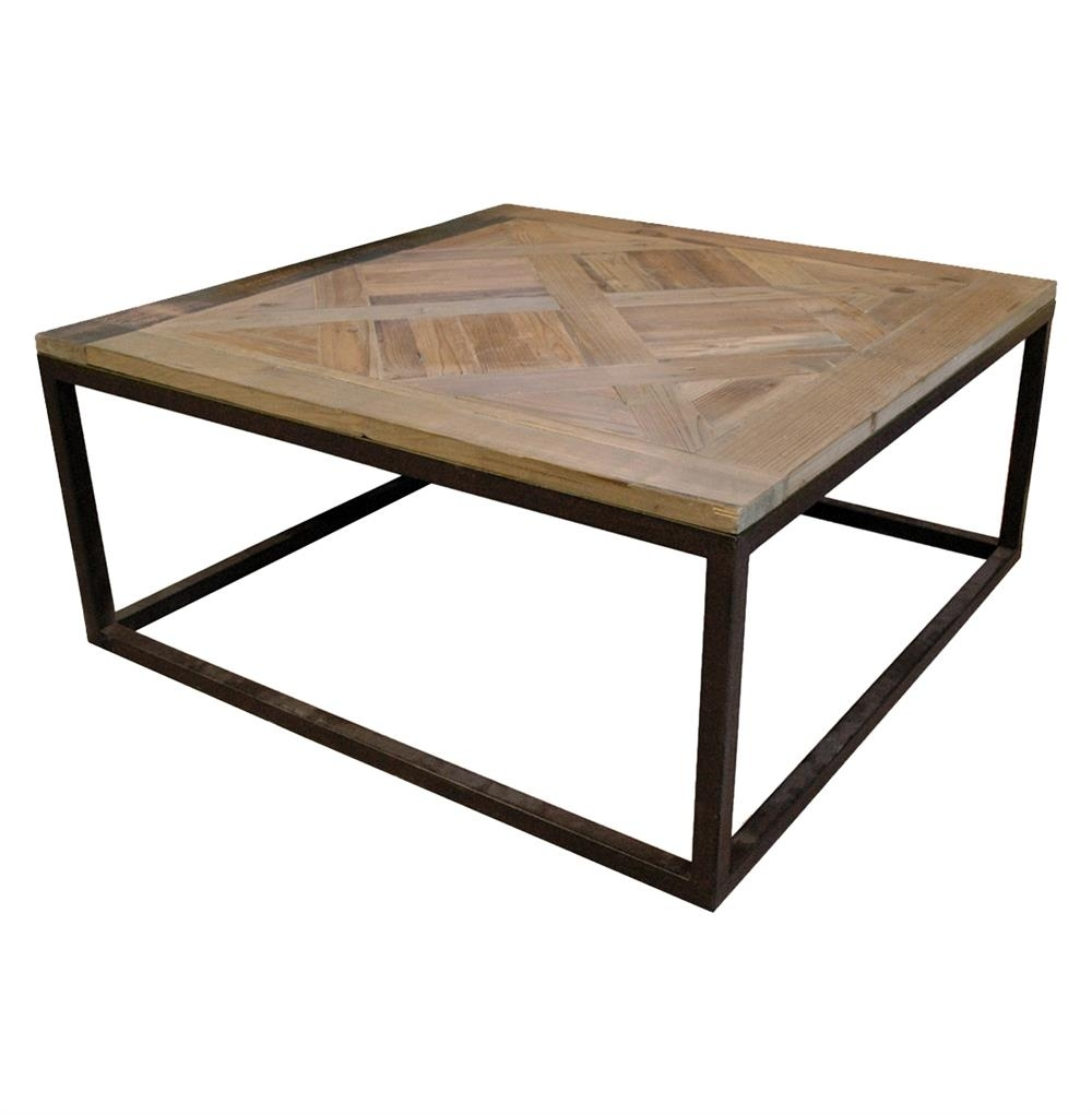 Gramercy Modern Rustic Reclaimed Parquet Wood Iron Coffee Table with regard to Modern Rustic Coffee Tables (Image 4 of 30)