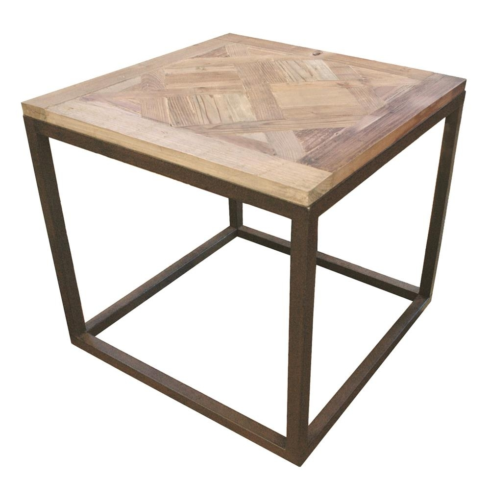 Gramercy Modern Rustic Reclaimed Parquet Wood Iron Side Table Intended For Parquet Coffee Tables (View 9 of 30)