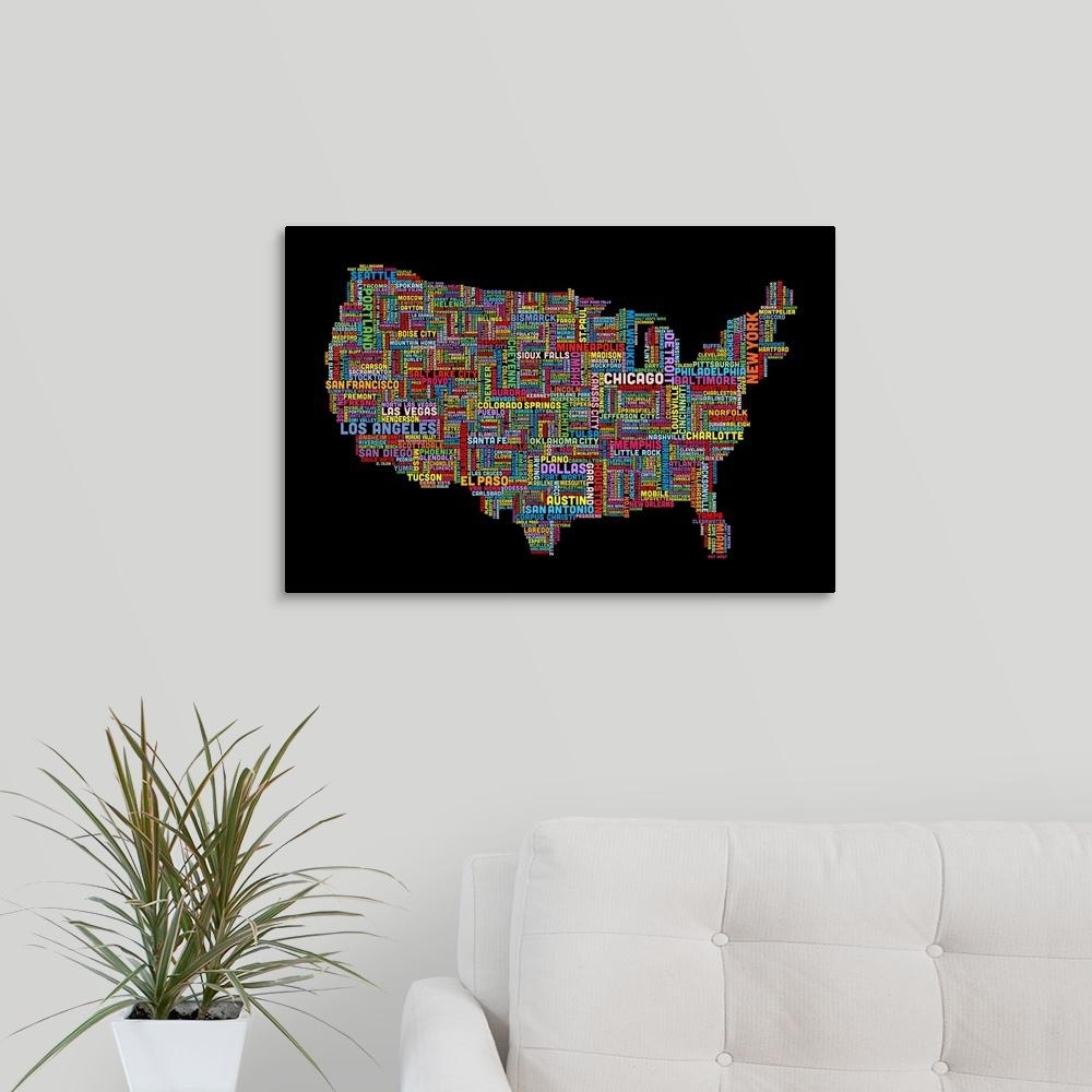 """Great Big Canvas """"united States Cities Text Map, Multicolor On Black Regarding Chicago Map Wall Art (View 14 of 20)"""